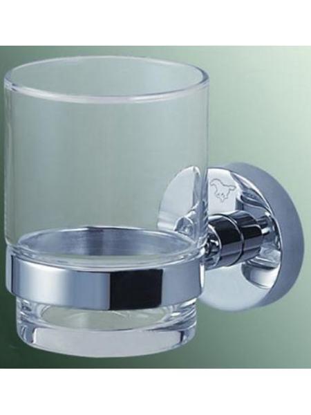 Стакан стекло с держателем 6,5*10*9,5см., латунь хром
