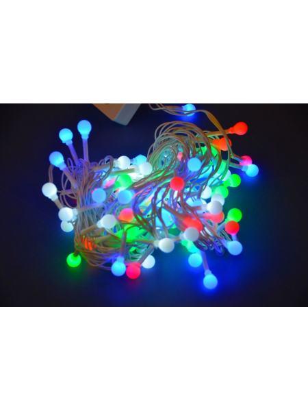 Гирлянда шарики разноцветные LED 100 6 метров (прозрачный провод)