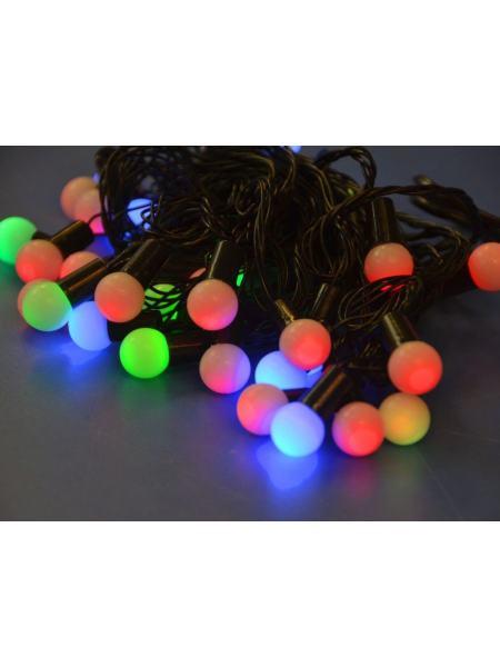 Гирлянда шарики разноцветные LED 40 18 мм