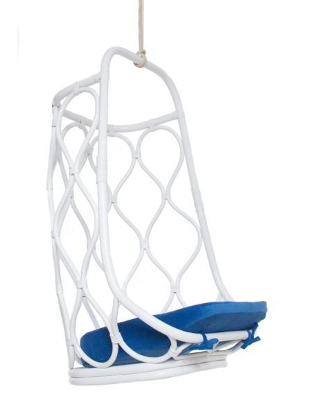 Подвесное кресло-качель Лилия из натурального ротанга, белый, Cruzo, ks0009
