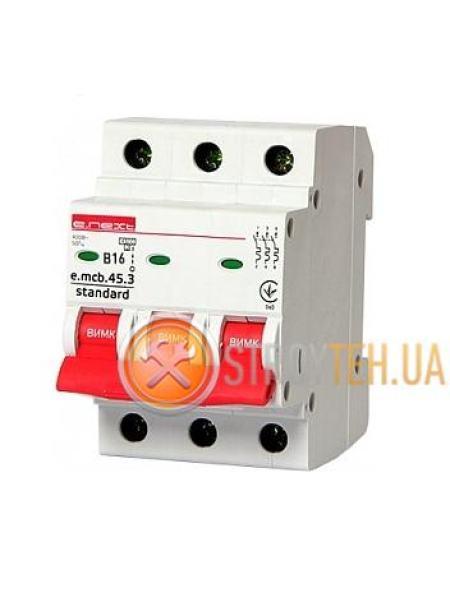 E.NEXT e.mcb.stand.45.3.B16, 3p, 16А, B, 4.5 кА Модульный автоматический выключатель