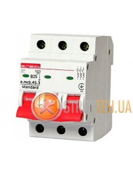 E.NEXT e.mcb.stand.45.3.B25, 3р, 25А, В, 4.5 кА Модульный автоматический выключатель