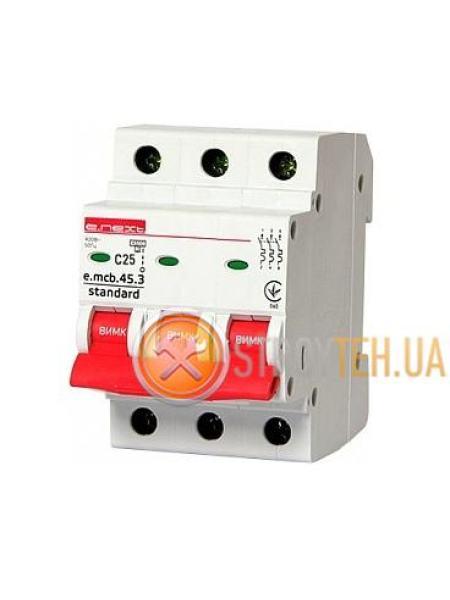 E.NEXT e.mcb.stand.45.3.C25, 3р, 25А, C, 4.5 кА Модульный автоматический выключатель
