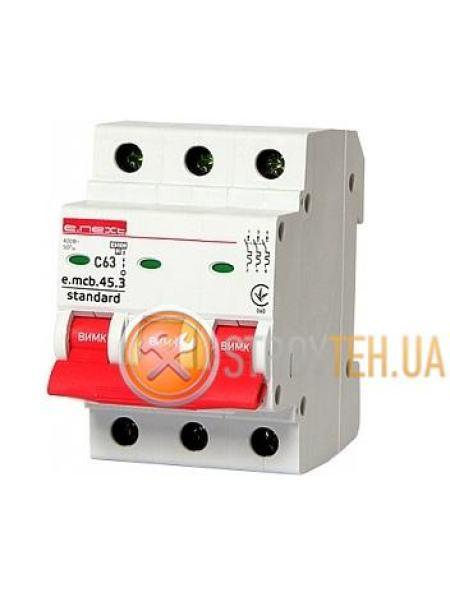 E.NEXT e.mcb.stand.45.3.C63, 3p, 63А, C, 4,5 кА Модульный автоматический выключатель
