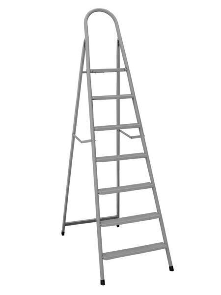 """Лестница-стремянка металлическая """"ИТАЛИЯ""""  7 ступеней с растяжками, h=1540 мм, max 150 кг ГОСПОДАР 79-1047"""