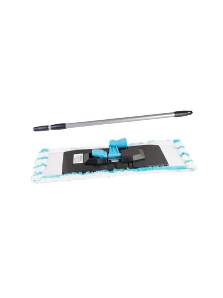 Швабра со складной платформой 400*105*45 мм L 1180 мм насадка микрофибра (телескопическая ручка) ГОСПОДАР 14-6431