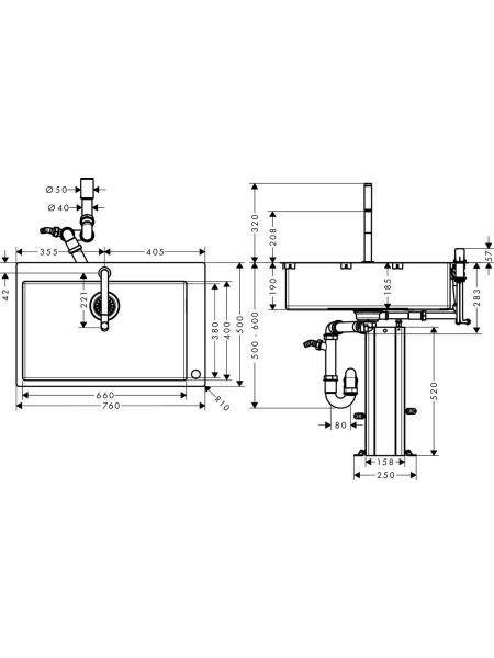 C71-F660-08 мойка для кухни со смесителем, однорычажным