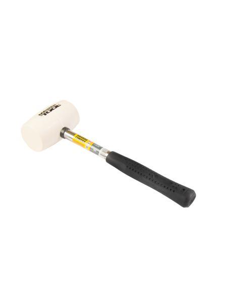 Киянка резиновая белая 60 мм 450 г металлическая рукоятка MASTERTOOL 02-1312