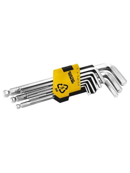 Ключи шестигранные набор 9 шт CrV удлиненные с шар.нак(1,5-10мм L74-172мм) MASTERTOOL 75-0957