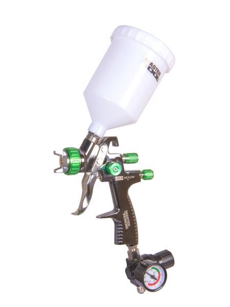 Краскопульт LVLP ВБ  600 мл, пластик, Ø 1,3 мм, 125-170 л/мин, 1,5-2,5 бар с манометром MASTERTOOL 80-8810