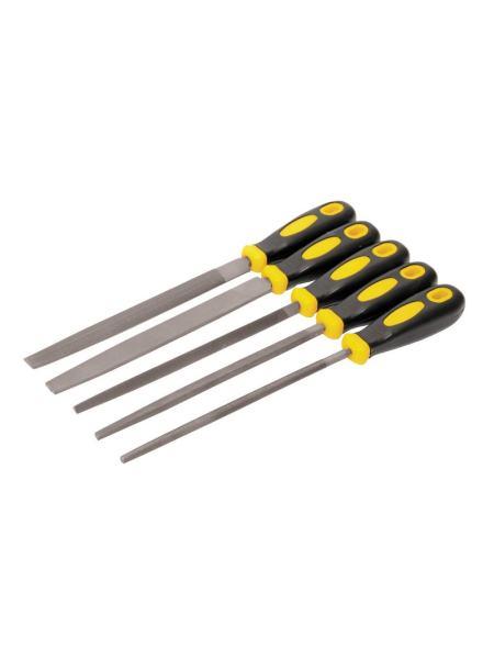Напильники по металлу 5 шт, 200 мм, плоский/круглый/полукруглый/трёхгранный/квадратный MASTERTOOL 06-0250