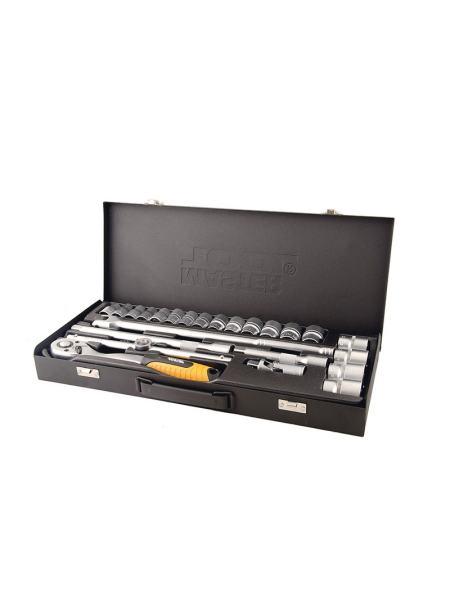"""Профессиональный набор инструментов 24 ед. 1/2"""", сталь CrV, головки 10-32 мм, трещотка с храповым механизмом 72 зуба, металлический кейс PROFI MASTERTOOL 78-4124"""