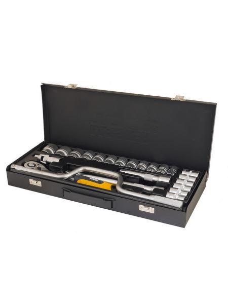 """Профессиональный набор инструментов 24 элемента, 1/2"""", сталь CrV, головки 10-32 мм, гнутый вороток,  трещотка с храповым механизмом 72 зуба, металлический кейс PROFI MASTERTOOL 78-4125"""