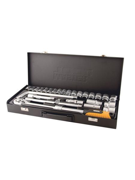 """Профессиональный набор инструментов 26 ед. 1/2"""" сталь CrV, 8-32 мм, удлиняющаяся трещотка 72 зуба, металлический кейс PROFI MASTERTOOL 78-4126"""