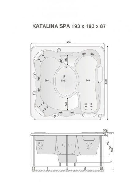 KATALINA бассейн 193*193*87см+рама+нагреватель 6 кВт+многоцветное освещение, цвет oceanwave opal