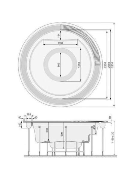 SUNFLOWER бассейн круглый, диаметр 283см, Public, со светодиодной хромотерапией, с переливным обрамлением