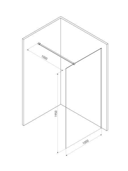 Стенка Walk-In 90*190см, прозрачное стекло 8мм + профиль стеновой 1900мм для Walk-IN + держатель стекла (D) 1000мм
